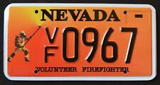"NEVADA "" VOLUNTEER FIREFIGHTER FIRE FIGHTER "" RARE "" NV Specialty  License Plate"