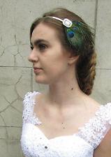 Argent plume de paon bandeau serre-tête strass clapet 1920s bridal vtg A27