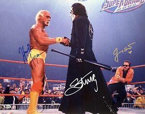 Hulk Hogan, Sting & Jimmy Hart Signed 16x20 Photo NWO WCW WWF BAS I34735