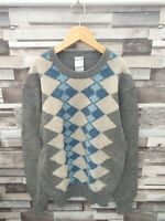 STONE EAGLE VTG RETRO 90'S GEOMETRIC SHETLAND WOOL PULLOVER COSBY JUMPER UK S