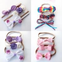3Pcs/set Colorful Baby Girls Infant Flower Bow Headband Soft Elastic Hair Band
