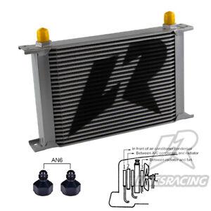 25 Row AN8 Stacked Plate Oil Cooler 6AN Adapter Universal Aluminium Radiator SL