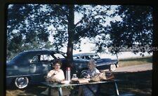 1960s  Kodachrome Photo slide Ladies at park bench cars automobile