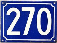 Large old blue French house number 270 door gate plate plaque enamel metal sign