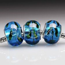 5pcs Murano Glass European Spacer Beads Lampwork Fit Bracelet Chain LB0082 FB