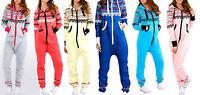Ladies Mens NEW NEON HEART All One Onesie Hooded Jumpsuit Playsuit Zip Up S-XL