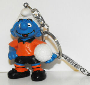 Dutch Soccer Smurf with Orange Shirt Figurine Key Chain Promotional Figure