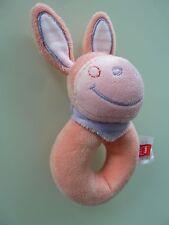 A8/ DOUDOU HOCHET TEX BABY ANE CHEVAL ROSE ORANGE FOULARD MAUVE - NEUF *