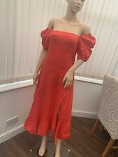 And Other Stories Linen Dress Red Eur 34 Bnwt Rrp£95