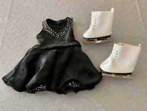 American Girl Doll MIDNIGHT SILVER Ice Skating Outfit, Dress, Skates, EX