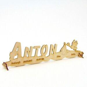 Geschenk zur Geburt zur Taufe, Storch stehend aus Holz Personalisiert Gravur