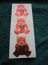 >> Lot Vintage 80s Hambly Foil Mylar Stickers Rare Collectible Brown Teddy Bears