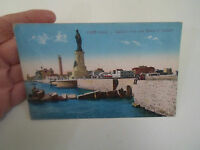 Vintage Colour Tinted Postcard EGYPT - PORT-SAID General View+Statue of Lesseps