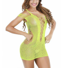 Women Sexy Lingerie Fishnet Babydoll Mini Dress Body stocking Bodysuit Nightwear