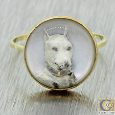 1890s Antique Victorian 14k Solid Gold Essex Glass English Bull Terrier Dog Ring