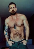 Shirtless Male Muscular Hairy Chest Abs Beard Beefcake Tattoo Guy PHOTO 4X6 D730