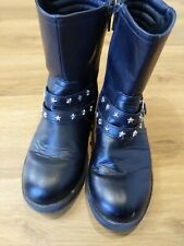 Girls H&M Black Biker Boots UK Size 3.5 Star Studs Buckle Detail Free Postage