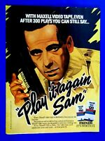 Humphrey Bogart PLAY IT AGAIN SAME1983 Maxwell Original Print Ad 8.5 x 11""