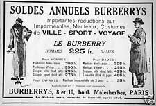 PUBLICITÉ BURBERRY IMPORTANTES RÉDUCTIONS SUR IMPERMÉABLES MANTEAUX COSTUMES