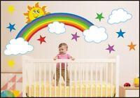 Rainbow Clouds Kids Children's Room Multi Sticker art vinyl, Decal Wall Art 103