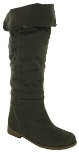 WOMENS KNEE HIGH TALL BOOTS FAUX SUEDE WINTER PULL ON FUR LINED FASHION UK 3-8