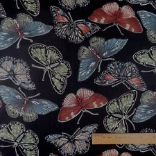 Cotton Quilt Sewing Beautiful Butterflies on Black  Background - BTY