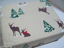 100% Cotton Heavyweight Deer Scarf Snow Covered Pine Tree Flannel Twin Sheet Set