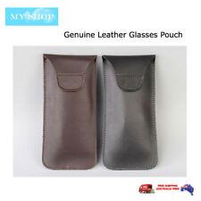 Premium Genuine Leather Eyeglass Sunglasses Glasses Case Soft Pouch Flap Closure