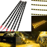 6PCS Waterproof 12''/15 DC 12V Motor LED Strip Light For Car Motorcycle Yellow