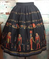 "Vtg Black Egyptian Novelty Print Border Circle Full Skirt S Small 28"" Waist 50s"
