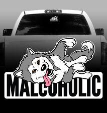 Malcoholic Alaskan Malamute - Vinyl Sticker Decal - High Quality, Window