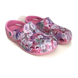 Crocs Classic Floral Print Clog Pink Shoes with Flowers Women's 9