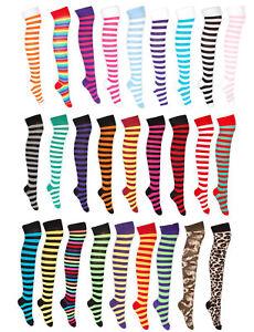 Ladies Over Knee Colourful Full Stripe Socks Cotton Rich UK 4-6.5 Fancy Dress
