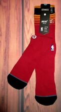 MENS STANCE MIAMI HEAT CLASSIC PIQUE SOCKS SIZE LARGE (9/12)