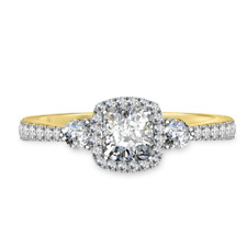1.50 Carat Cushion Diamond Engagement Ring 14K Yellow Gold Anniversary Size M N