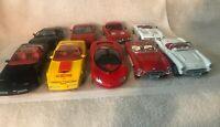 Lot of 9 Corvette Maisto, Bburago, Revell, Stingray, ZR-1, Indy, 1997,1957, 1:24