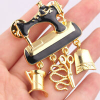 Enamel Sewing Machine Brooch Pins Women Party Clothes Jewelry Black Gold Color