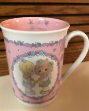 "Precious Moments ""Let's Be Friend's"" Girls White/Pink Mug/Cup 1991 Enesco"