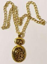 collier bijou vintage pendentif couleur or cabochon panthère unique cougar*3621