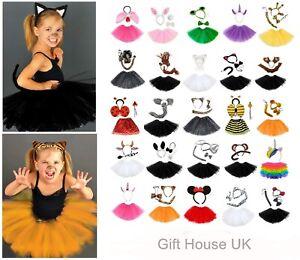 KIDS GIRLS ANIMAL COSTUME EARS TAIL TUTU SET HEADBAND BOW PLAY DRAMA FANCY DRESS