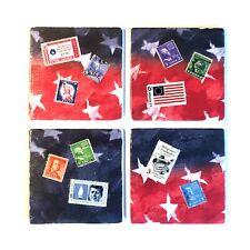 Set/Four Cork Back Ceramic Coasters Handmade w/Vintage Patriotic Postage Stamps