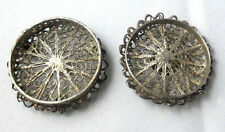 STERLING SILVER Filigree PILL or PIN BOX, original ANTIQUE c1850