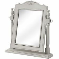 Silver Grey Dressing Table Vanity Mirror Modern French Style Wood Freestanding