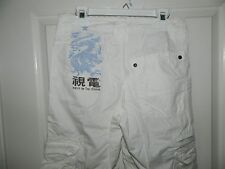 H&M YOUNG girls White Cotton DRAGON Cargo Capris Pants* 10 11