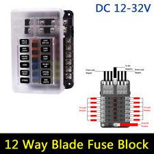 Car Boat Fuse Block 12 Way LED Fuse Junction Box Blade Fuse Terminal Box 12V/24V