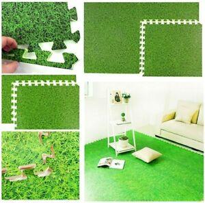 Interlocking Floor Mats EVA Grass Effect Soft Extra Thick Foam Yoga Gym Tiles