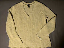 Eileen Fisher Chunky Knit V-neck Sweater In Sage Green, Size PM