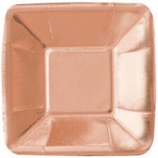 Unique Party 53477 12cm Foil Square Paper Appetiser Plates, Pack Of 5, Rose
