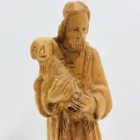 Olive Wood Carved Shepherd Lamb Sheep Vintage Hand Made Religious Nativity