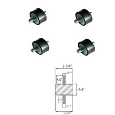 "4 Rubber Vibration Isolator Mounts (1-3/8"" Dia x 3/4 Thk) 3/8-16 x 5/8 Long Stud"